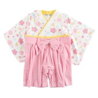 [新品!キッズ♪袴型カバーオール(花) 80センチ](和服/着物)