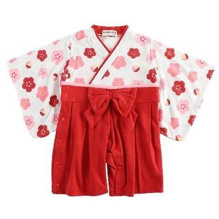 [新品!キッズ♪袴型カバーオール(花) 90センチ](和服/着物)
