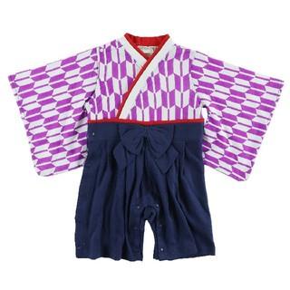 [新品!キッズ♪袴型カバーオール 白×紫 80センチ](和服/着物)