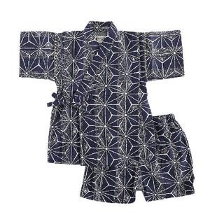 [新品!キッズ♪甚平スーツ(こう麻柄)ネイビー 90センチ](甚平/浴衣)
