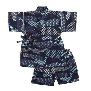 [新品!キッズ♪甚平スーツ(クジラ柄)ネイビー 110センチ](甚平/浴衣)