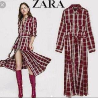ZARA - 美品 ZARA 赤チェックシャツ ロングマキシワンピース s ザラ
