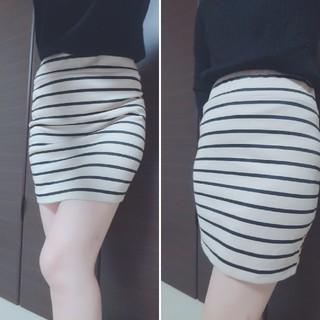 ボーダースカート タイトスカート ミニ 美品 Mサイズ ギャル 姉系(ミニスカート)