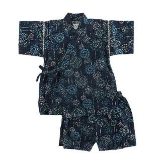 [新品!キッズ♪甚平スーツ(打上花火柄)ネイビー 80センチ](甚平/浴衣)