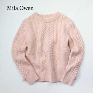 Mila Owen - ミラオーウェン★ウール混 ケーブル クルーネック ニット トップス ピンク F