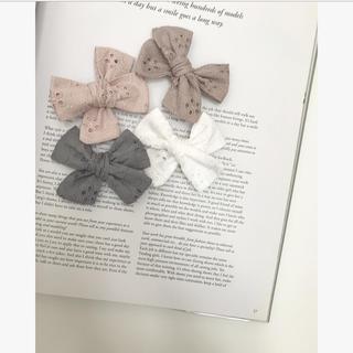 キャラメルベビー&チャイルド(Caramel baby&child )のリボンヘアゴム プチロンド 刺繍 リボンヘアクリップ チェックアンドストライプ (その他)