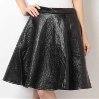 アングリッド(Ungrid)のungrid レザー フレア スカート ブラック(ひざ丈スカート)