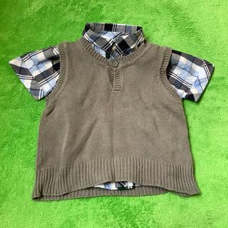 コムサイズム(COMME CA ISM)のコムサイズム 半袖チェックシャツ とベスト 80サイズ(シャツ/カットソー)