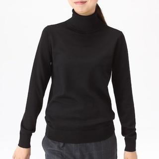 ムジルシリョウヒン(MUJI (無印良品))の無印 首のチクチクをおさえた 天竺編みタートルネックセーター 婦人M・黒(ニット/セーター)