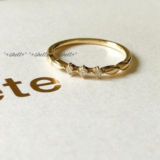 エテ(ete)の美品 ete エテ K10 0.04 ダイヤモンド ピンキーリング 3号(リング(指輪))