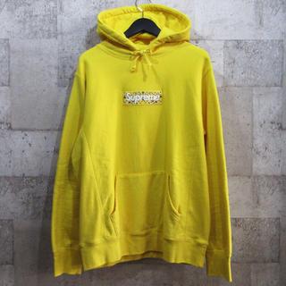 シュプリーム(Supreme)のシュプリーム 19AW バンダナボックスロゴパーカー 黄色 フーディー 超美品(パーカー)