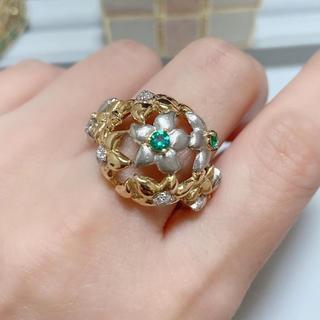☆ エメラルドリング ☆ デザインリング k18 pt900 ダイヤモンドリング(リング(指輪))