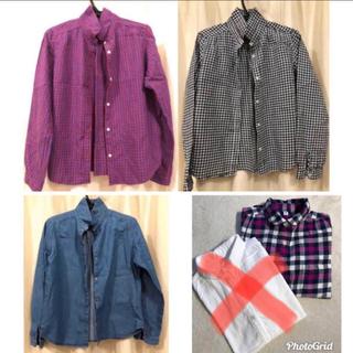 ユニクロ(UNIQLO)のユニクロ 丸襟ネルシャツ 5枚 丸襟デニムシャツ(ブラウス)
