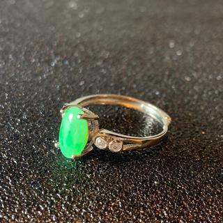 卸値 指輪 本翡翠 緑色 ヒスイ A貨 シルバー 誕生日プレゼント 本物保証62(リング(指輪))