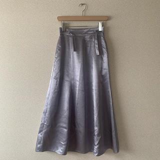ヘザー(heather)のサテンスカート パープル 紫(ロングスカート)