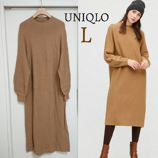 UNIQLO - 今季 美品 ユニクロ UNIQLO 3Dコットンボリュームスリーブワンピース