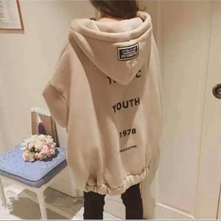 【早割SALE】新品韓国ファッション オーバー サイズパーカー ベージュAL(パーカー)