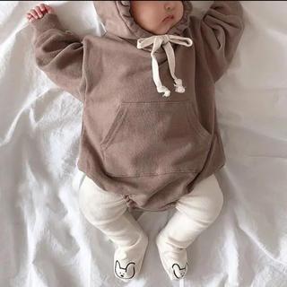【数量限定!】ベビー 子供服 赤ちゃん クマさん ロンパース ブラウン 80㎝(ロンパース)