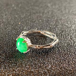 卸値 指輪 本翡翠 緑色 ヒスイ A貨 シルバー 誕生日プレゼント 本物保証58(リング(指輪))