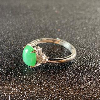 卸値 指輪 本翡翠 緑色 ヒスイ A貨 シルバー 誕生日プレゼント 本物保証55(リング(指輪))