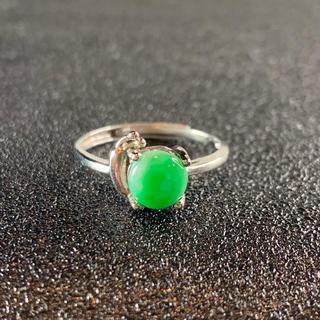 卸値 指輪 本翡翠 緑色 ヒスイ A貨 シルバー 誕生日プレゼント 本物保証51(リング(指輪))
