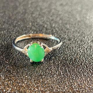卸値 指輪 本翡翠 緑色 ヒスイ A貨 シルバー 誕生日プレゼント 本物保証50(リング(指輪))