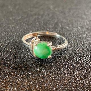 卸値 指輪 本翡翠 緑色 ヒスイ A貨 シルバー 誕生日プレゼント 本物保証49(リング(指輪))