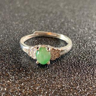 卸値 指輪 本翡翠 緑色 ヒスイ A貨 シルバー 誕生日プレゼント 本物保証48(リング(指輪))