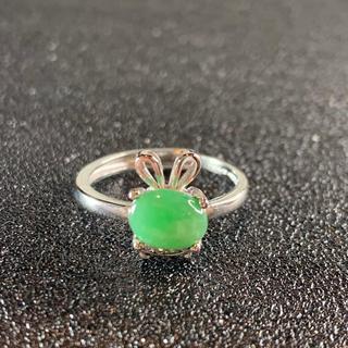 卸値 指輪 本翡翠 緑色 ヒスイ A貨 シルバー 誕生日プレゼント 本物保証46(リング(指輪))