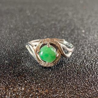 卸値 指輪 本翡翠 緑色 ヒスイ A貨 シルバー 誕生日プレゼント 本物保証45(リング(指輪))
