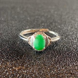 卸値 指輪 本翡翠 緑色 ヒスイ A貨 シルバー 誕生日プレゼント 本物保証44(リング(指輪))
