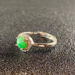 卸値 指輪 本翡翠 緑色 ヒスイ A貨 シルバー 誕生日プレゼント 本物保証43(リング(指輪))