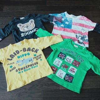 Tシャツ 長袖 4枚セット 80 ミッキー ベビー服 子供服 カットソー 車(Tシャツ)