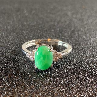 卸値 指輪 本翡翠 緑色 ヒスイ A貨 シルバー 誕生日プレゼント 本物保証47(リング(指輪))