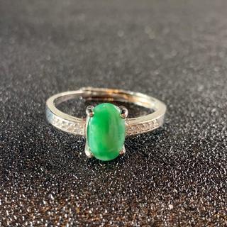 卸値 指輪 本翡翠 緑色 ヒスイ A貨 シルバー 誕生日プレゼント 本物保証42(リング(指輪))