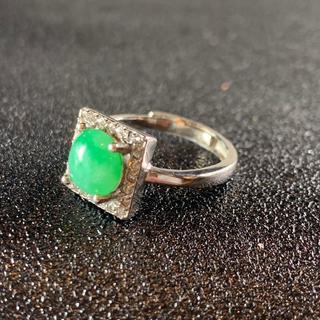 卸値 指輪 本翡翠 緑色 ヒスイ A貨 シルバー 誕生日プレゼント 本物保証41(リング(指輪))