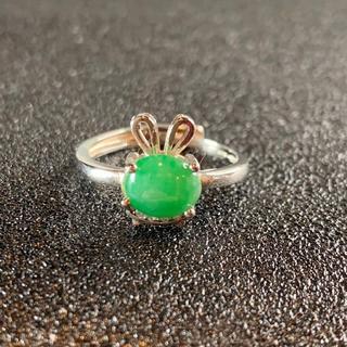 卸値 指輪 本翡翠 緑色 ヒスイ A貨 シルバー 誕生日プレゼント 本物保証40(リング(指輪))