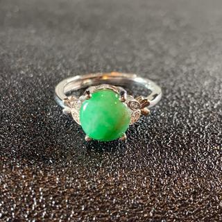 卸値 指輪 本翡翠 緑色 ヒスイ A貨 シルバー 誕生日プレゼント 本物保証30(リング(指輪))