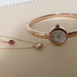 4℃ - 4℃ バングル 腕時計 ダイヤ ピンクゴールド 電池交換済稼働中 とても美品