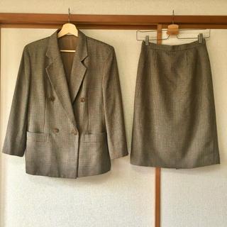 オールドBurberry セットアップ スーツ 絹、毛混合 ロゴボタン チェック