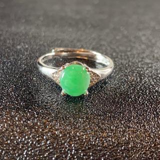 卸値 指輪 本翡翠 緑色 ヒスイ A貨 シルバー 誕生日プレゼント 本物保証36(リング(指輪))