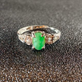 卸値 指輪 本翡翠 緑色 ヒスイ A貨 シルバー 誕生日プレゼント 本物保証35(リング(指輪))