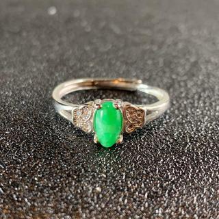卸値 指輪 本翡翠 緑色 ヒスイ A貨 シルバー 誕生日プレゼント 本物保証27(リング(指輪))