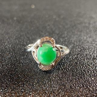 卸値 指輪 本翡翠 緑色 ヒスイ A貨 シルバー 誕生日プレゼント 本物保証29(リング(指輪))
