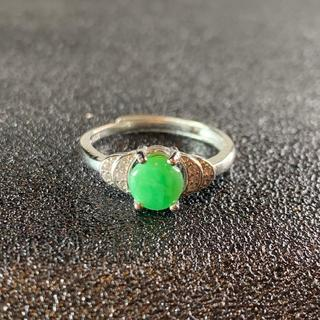 卸値 指輪 本翡翠 緑色 ヒスイ A貨 シルバー 誕生日プレゼント 本物保証25(リング(指輪))