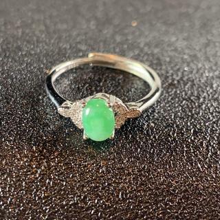 卸値 指輪 本翡翠 緑色 ヒスイ A貨 シルバー 誕生日プレゼント 本物保証23(リング(指輪))
