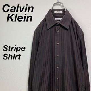 カルバンクライン(Calvin Klein)の古着 カルバン クライン コットン ストライプシャツ L ブラウン(シャツ)