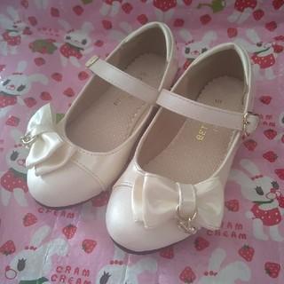 17cm♡ フォーマルシューズ パール 白 アイボリー 女の子 フォーマル靴