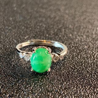 卸値 指輪 本翡翠 緑色 ヒスイ A貨 シルバー 誕生日プレゼント 本物保証21(リング(指輪))