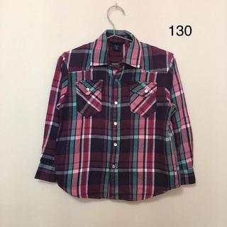 ギャップキッズ(GAP Kids)のGAP★ピンク紫系のチェックシャツ(130) 綿100%(Tシャツ/カットソー)